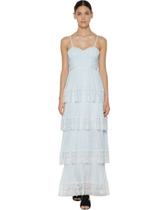 Chiffon & Lace Pleated Maxi Dress