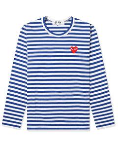 Play Women's Long Sleeve Heart Logo Stripe Tee