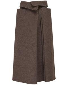 褶饰羊毛迷笛半身裙