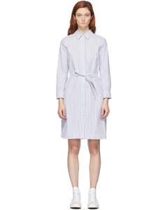白色&蓝色Jo条纹连衣裙
