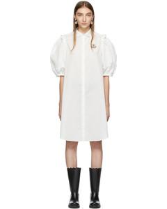 4 Moncler Simone Rocha白色衬衫连衣裙