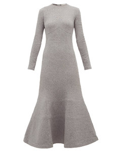 Trumpet-hem cotton-blend midi dress