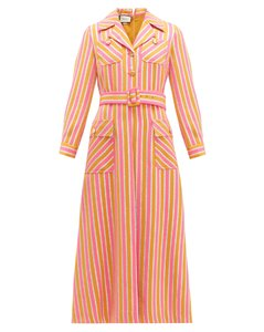 Metallic-stripe tailored wool-blend dress