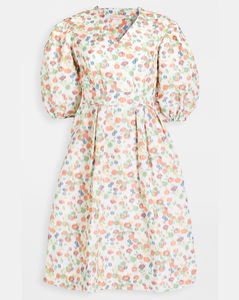 塔夫绸印花袖连衣裙