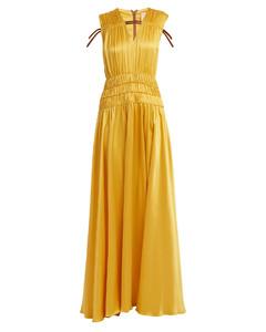 Brona gathered rope-detail silk-satin gown