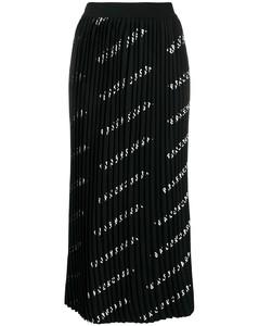 logo印花百褶半身裙