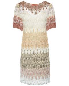 Metallic crochet-knit dress
