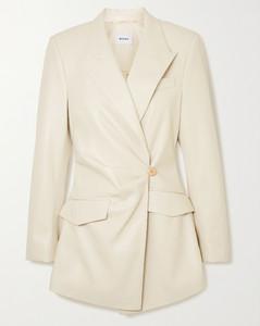 Blair缩褶双排扣纯素皮革西装外套