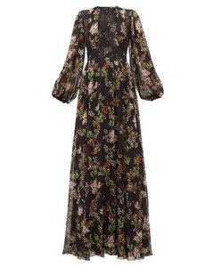 Lace-panelled floral-print silk-georgette dress