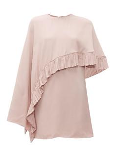 Asymmetric-cape crepe mini dress