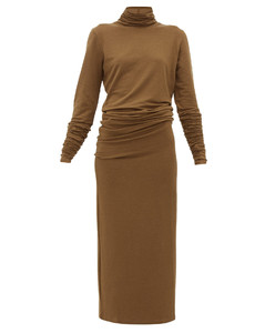 Roll-neck stretch-jersey maxi dress