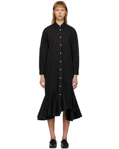 黑色喇叭裙摆衬衫连衣裙