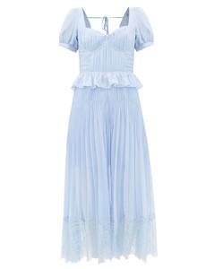 Lace-trimmed pleated-chiffon midi dress