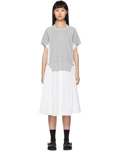白色拼接针织连衣裙