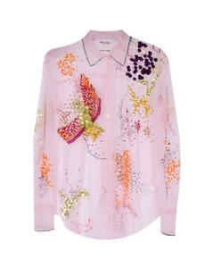 Layered frayed printed twill mini dress