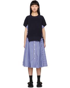 海军蓝条纹针织拼接连衣裙