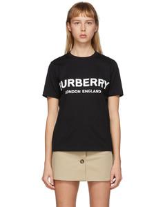 黑色徽标T恤
