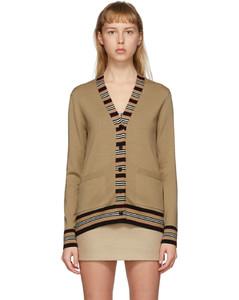 黄褐色Icon条纹羊毛开衫
