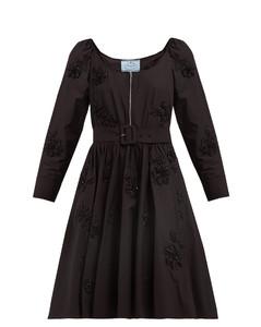 Floral-embellished scoop-neck cotton-poplin dress