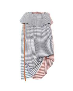 格纹棉质中长半身裙