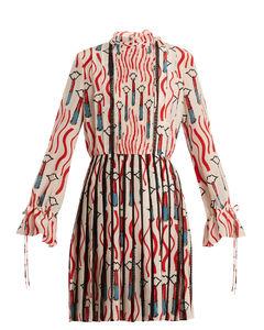 Lipstick-print lace-trimmed silk dress
