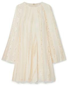 Lace-paneled silk-chiffon mini dress