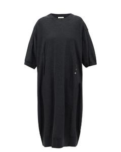 Button-front merino-wool blend dress