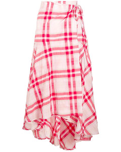 Seersucker Check wrap skirt