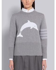 Light Grey Merino Wool Dolphin Icon Jacquard 4-Bar Crewneck Pullover