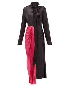 Necktie asymmetric satin midi dress