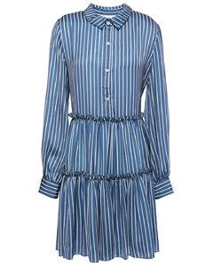 Gathered striped satin mini shirt dress