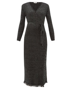Bobbi ribbed merino wool-blend laméwrap dress