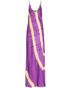 扎染缎布吊带加长连衣裙