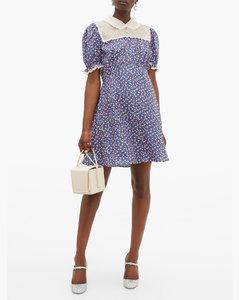 Floral-print silk-charmeuse mini dress