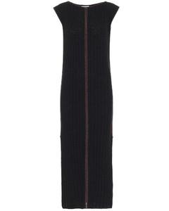 罗纹针织真丝中长连衣裙