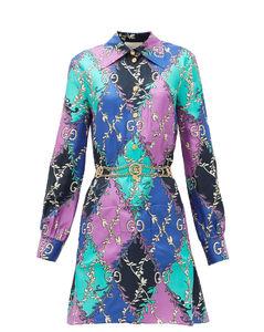 GG diamond-print silk-twill mini dress