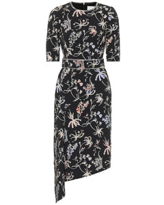花卉不对称中长连衣裙