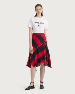 Stripy Asymmetrical Midi Skirt