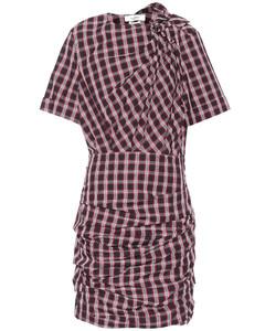 Oria垂褶格纹棉质连衣裙