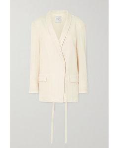 配腰带棉质混纺顺纡绉西装外套