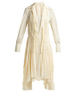 Draped silk crepe de Chine midi dress