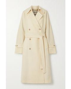 大廓形配腰带双排扣羊毛斜纹布外套