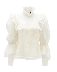 Lace-trimmed silk-organza blouse