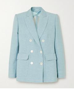Ottuso双排扣亚麻真丝混纺西装外套