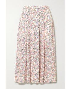 Cuesta褶裥花卉印花绉纱中长半身裙
