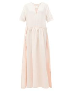 Gathered-waist slubbed-voile maxi dress