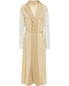 Satin jacquard-paneled checked wool midi dress