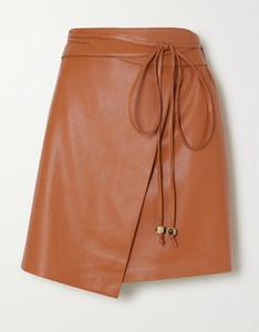 Sekoya纯素皮革围裹式迷你半身裙