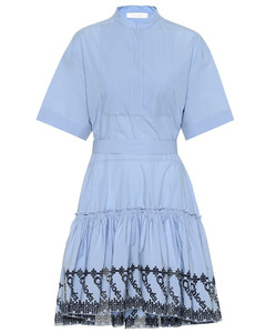 Embroidered cotton poplin dress
