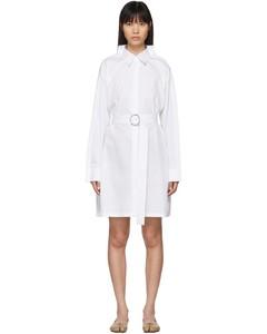白色双衣领府绸连衣裙